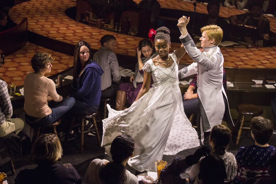 """""""Natasha, Pierre and the Great Comet of 1812"""" when it appeared at the American Repertory Theater. Denee Benton (center left), who plays Natasha, was nominated as best actress in a musical."""