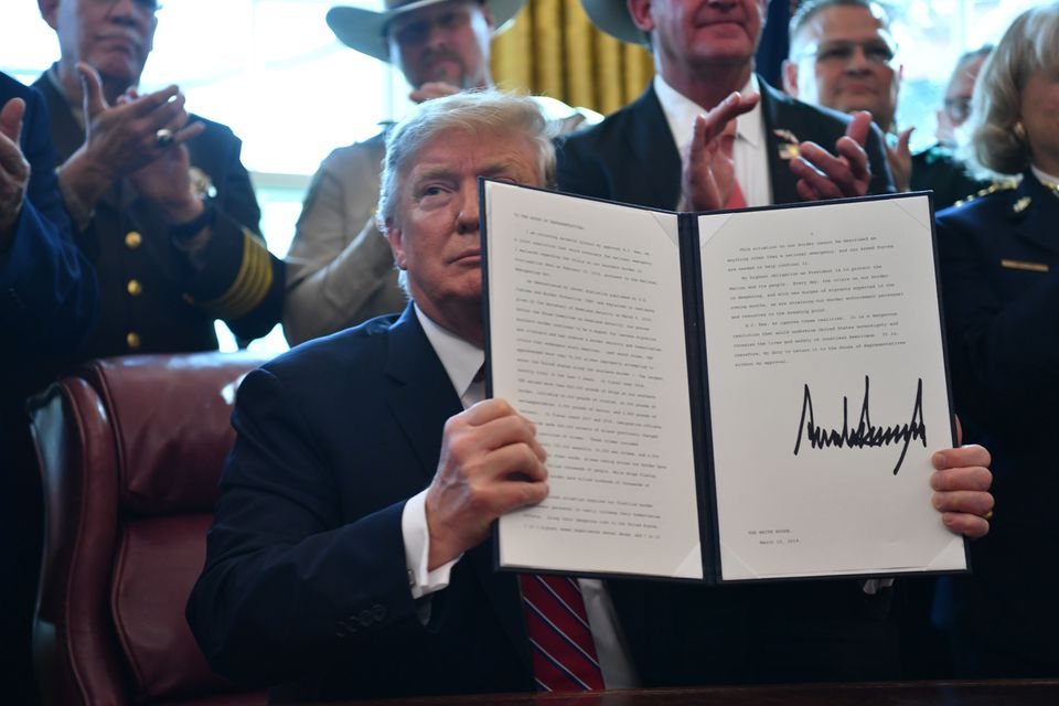 President Trump formally vetoed Congress's resolution to block his declaration of a national emergency.
