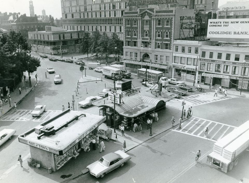 Out of Town News has operated in Harvard Square for decades, as seen in this 1970 photo.
