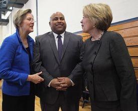 Mayor Daniel Rivera of Lawrence (center), who was joined by US Senator Elizabeth Warren (left) and US Representative Niki Tsongas before his January 2014 inauguration.