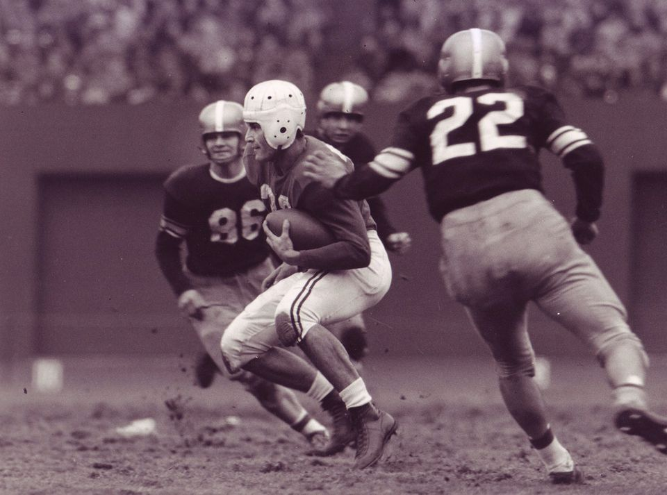 Boston University's Harry Agganis threw for 2,930 yards and 34 touchdowns in his college career.