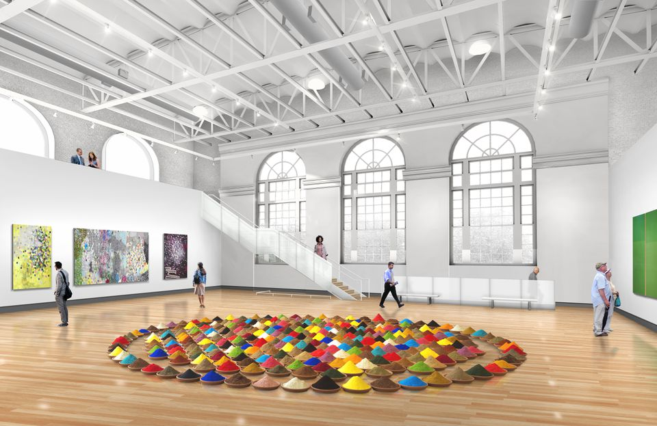 Rendering of the Paine Gallery at the new MassArt Art Museum set to open February 2020.