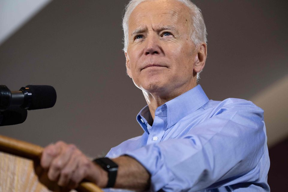 Former vice president Joe Biden sits atop the Democratic presidential primary field in a Suffolk University/Boston Globe poll of likely voters in New Hampshire.