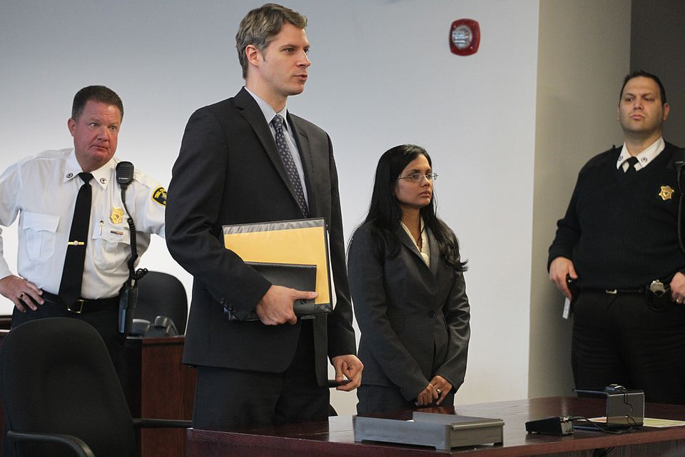 Former state lab chemist Annie Dookhan appeared at Middlesex Superior Court with her attorney, Nick Gordon, on Wednesday.
