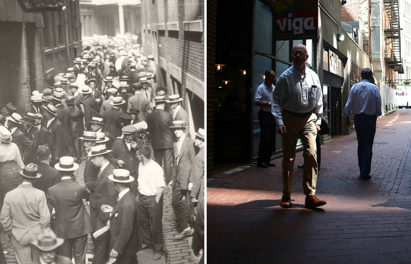 As one of the oldest streets in Boston, the alley has witnesssed centuries of history, including in August 1920 (left) when crowds linded the street hoping to collect on their 90-day notes at the nearby office of one Charles Ponzi. People made their way through Pi Alley (right).