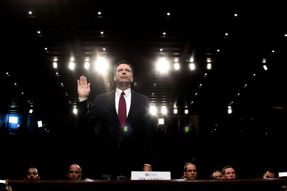 James Comey, the former FBI director, prepares to testify before a Senate committee on Capitol Hill in Washington, D.C.