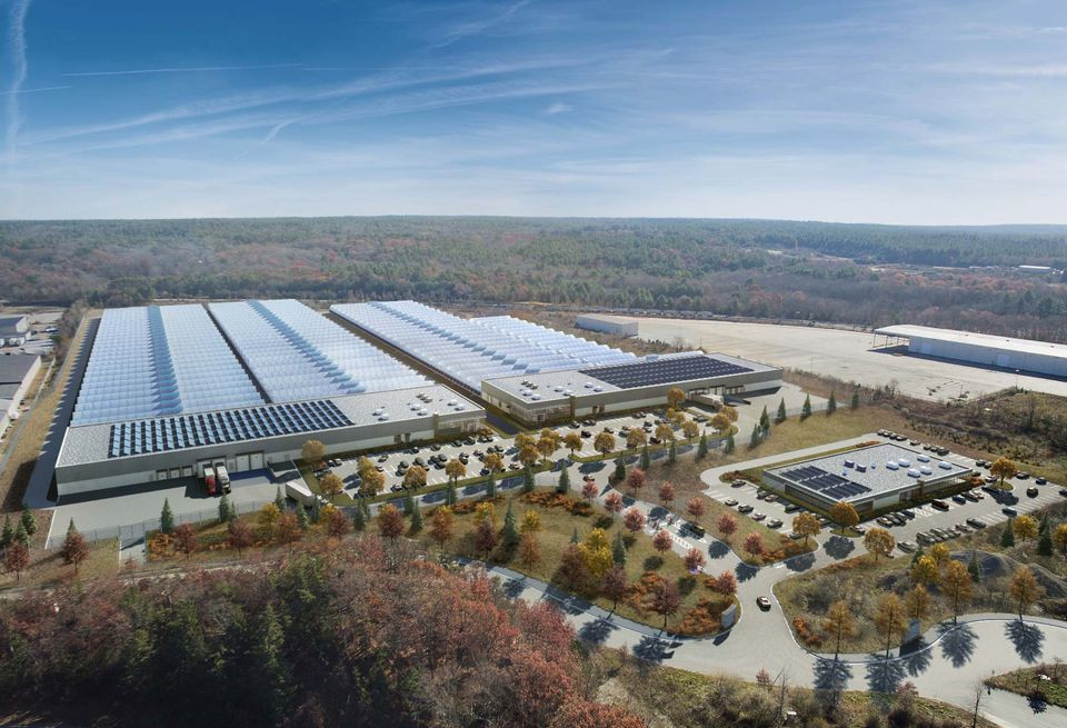 A rendering of a 1-million-square-foot marijuana greenhouse and processing center that AmeriCann Inc. hopes to build in Freetown, Massachusetts.