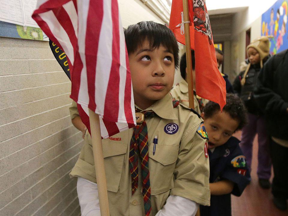Derek Thach, 9, of Dorchester's Pack 11, at the Mather School.