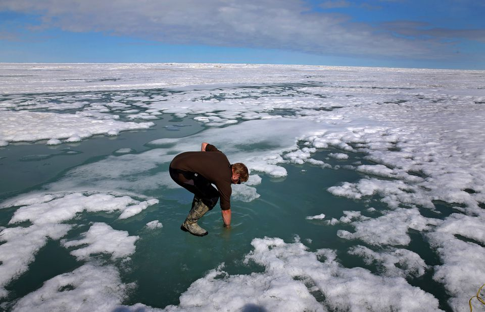 Researcher Josh Jones stood on the Arctic ice and put his arm in to see how salty the water might be at Barrow, Alaska.