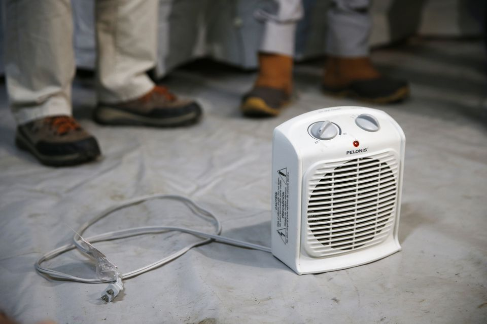 A space heater was brought in to illustrate the proper distance it should be kept from potential combustibles at a press conference held by Lawrence Mayor Dan Rivera about the coming cold weather in South Lawrence.