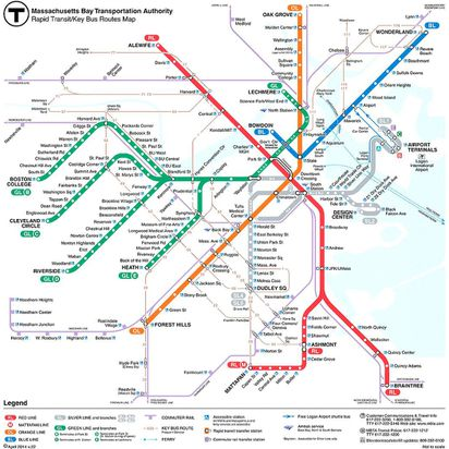 Mbta Subway Map Boston Ma.T Debuts Revamped Map Real Time Tracking Info The Boston Globe