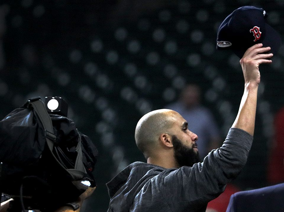 David Price tips his cap to Red Sox fans as he leaves the field after a stellar performance in Game 5 of the ALCS.