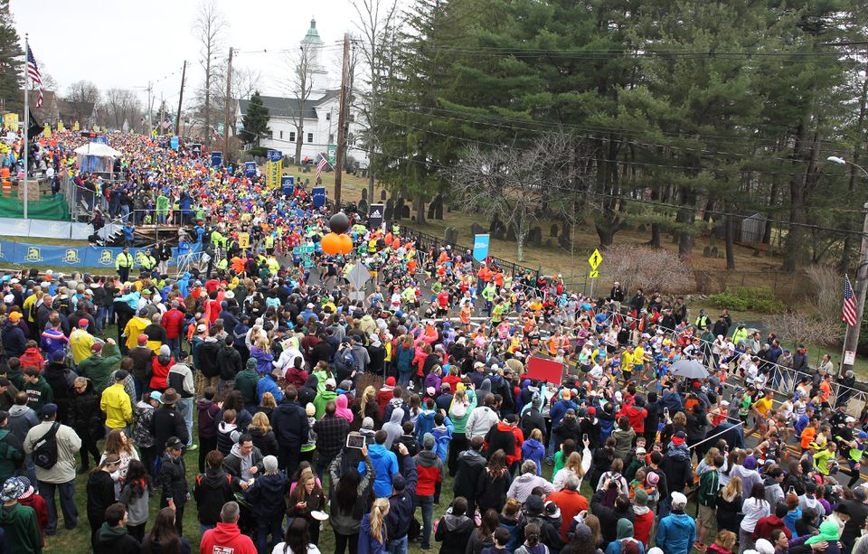 A view of the starting line in Hopkinton Monday.