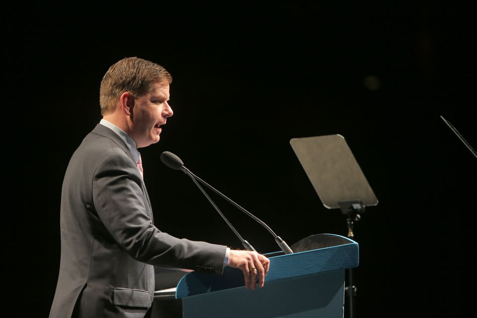 Mayor Martin Walsh addressed real estate executives at the Boston Convention and Exhibition Center.