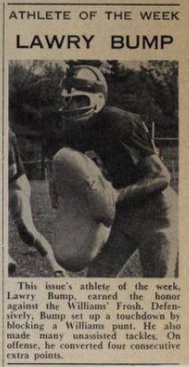 A Phillipian clipping featuring Lawry Bump as Athlete of the Week following the Williams game.