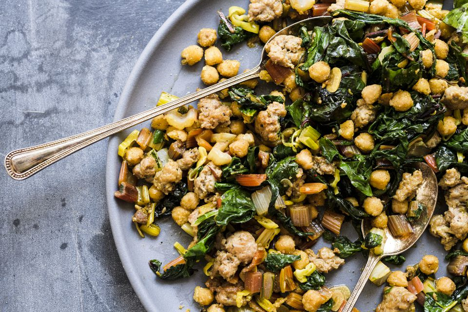 Garlicky chard and sausage with fried chickpeas.