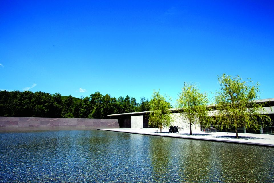 A view across the reflecting pool toward the Clark Art Institute in Williamstown.