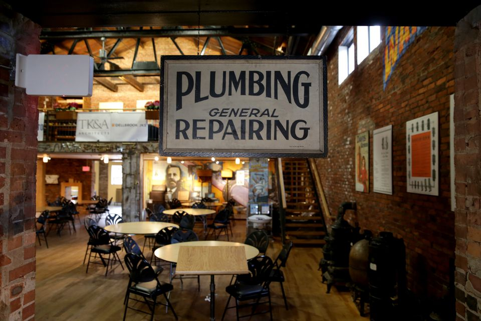 The main display area of the Plumbing Museum is set up for a meeting of Women in Construction.