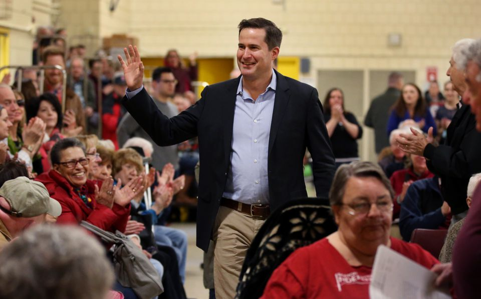 Representative Seth Moulton arrived for a town hall meeting at North Shore Community College in Lynn on April 8.