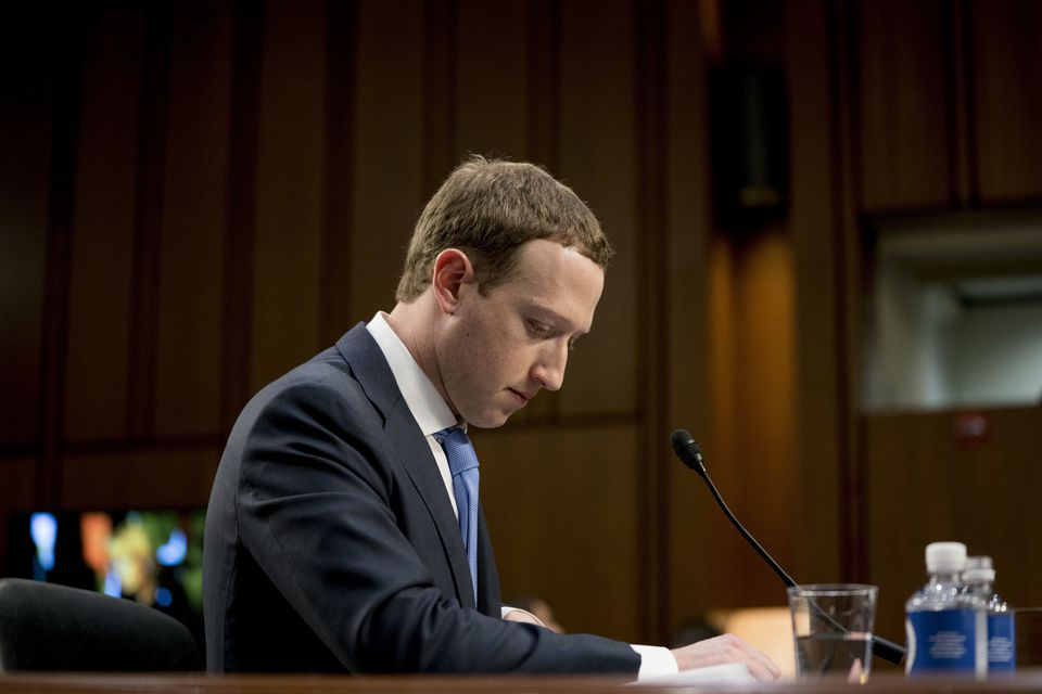Facebook CEO Mark Zuckerberg pauses while testifying before a congressional hearing in April.