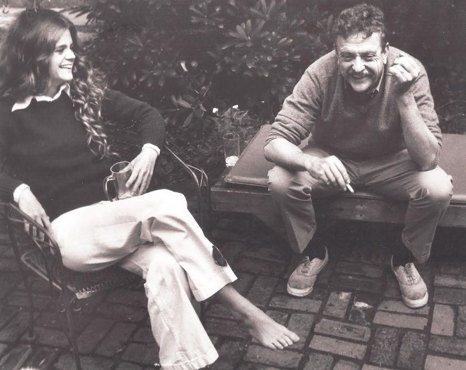 Author Kurt Vonnegut with his oldest daughter, Edie, in a family photo from his Cape Cod years. Edie, a painter, lives with her husband in a renovated barn behind the old Vonnegut home.