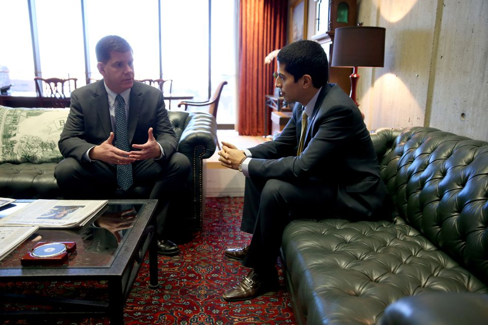 Mayor Martin  J. Walsh (left) has said he was impressed by the humility of Daniel Arrigg Koh, now chief of staff.