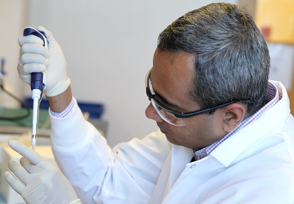 Senior scientist Yadunanda Budigi at a lab at Visterra Inc. in Cambridge.