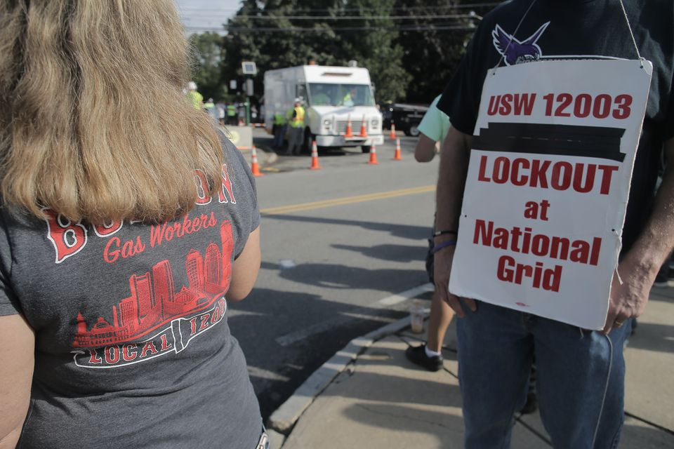 A protest by locked-out National Grid workers in Woburn this fall.
