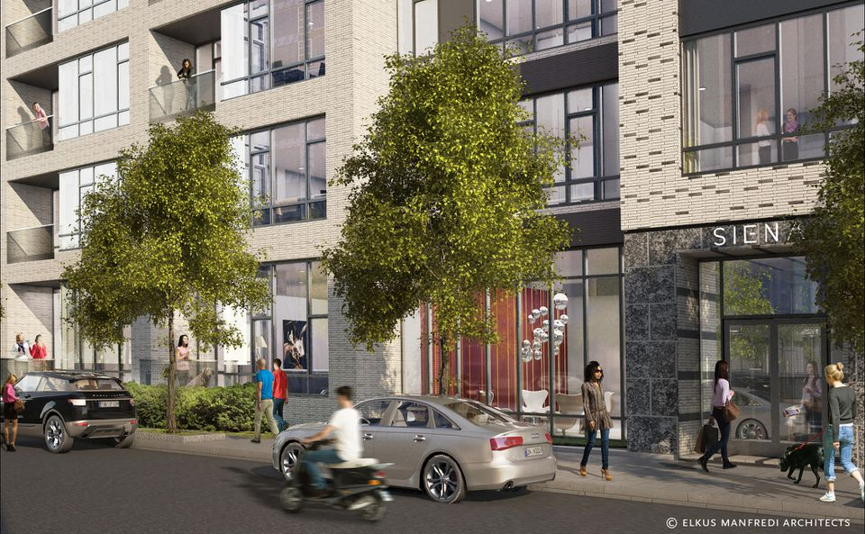 A rendering shows the entrance on Traveler Street with the maisonette units on the ground floor.