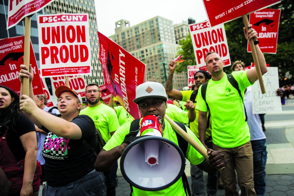 Union activists rallied against a Supreme Court ruling in June; the days of unions using inflatable rats as a protest symbol may be numbered.