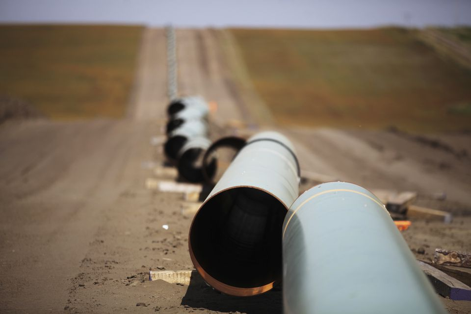 A gas pipeline under construction in Belfield, N.D.