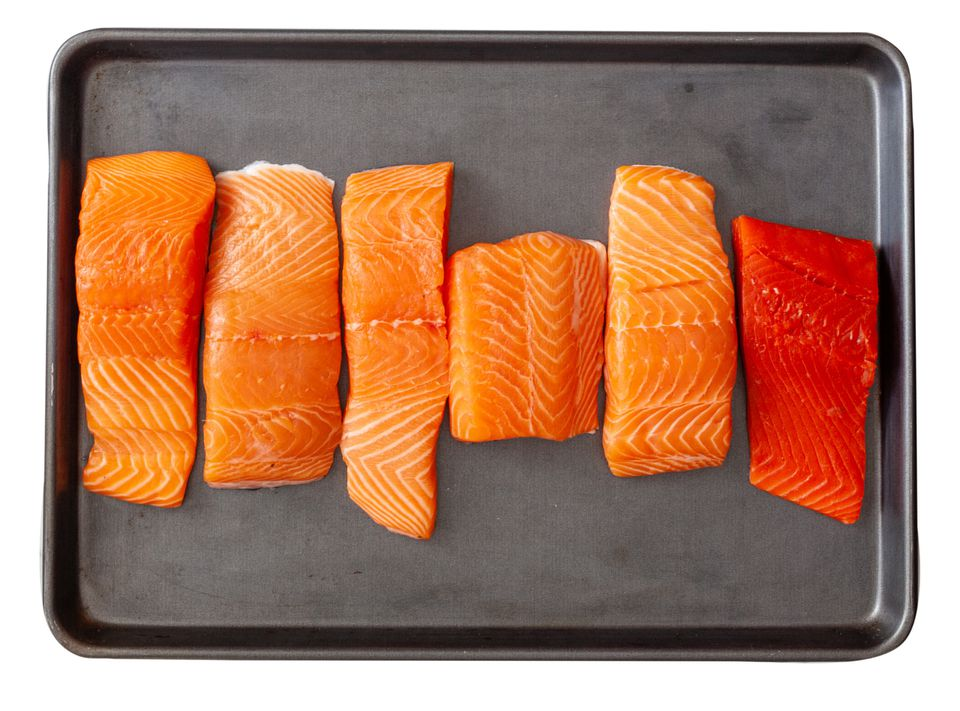 Salmon comes in many varieties including (from left) British Columbia, Canada, Norway, Faroe Islands, Scotland, and Alaska Sockeye.