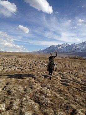 Alexandros Petersen sent home a photo of himself taken in western China near Tajikistan in April 2012.