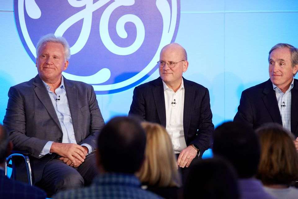 Outgoing General Electric CEO Jeff Immelt (left), successor John Flannery, and Jack Brennan, the lead independent director of the GE board, at a press conference on Monday.