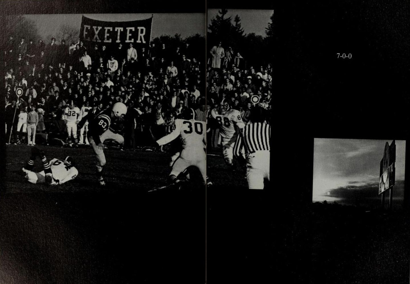 An Andover yearbook spread commemorating the team's win against Exeter and the undefeated season.