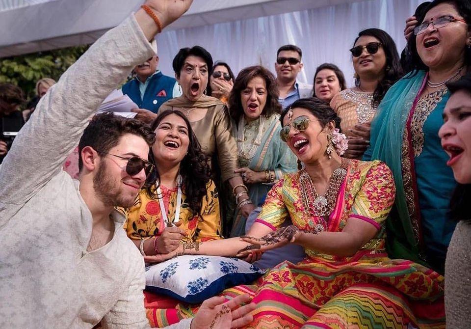 The couple celebrated Friday during the mehendi ceremony at Umaid Bhawan in Jodhpur.