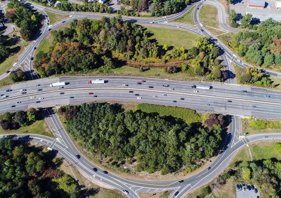 Rotary at exit 40 off 95 shown from above by drone.