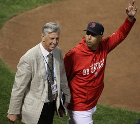 Dave Dombrowski was on the field with manager Alex Cora before Game 1 of the ALDS.