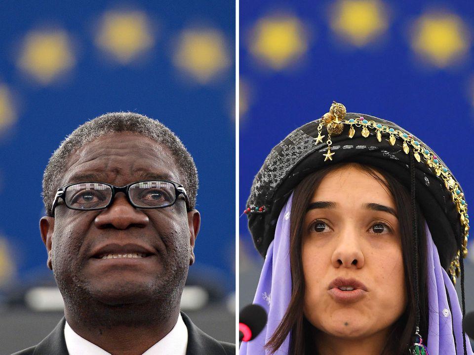 Congolese doctor Denis Mukwege and Yazidi campaigner Nadia Murad, winners of the 2018 Nobel Peace Prize.