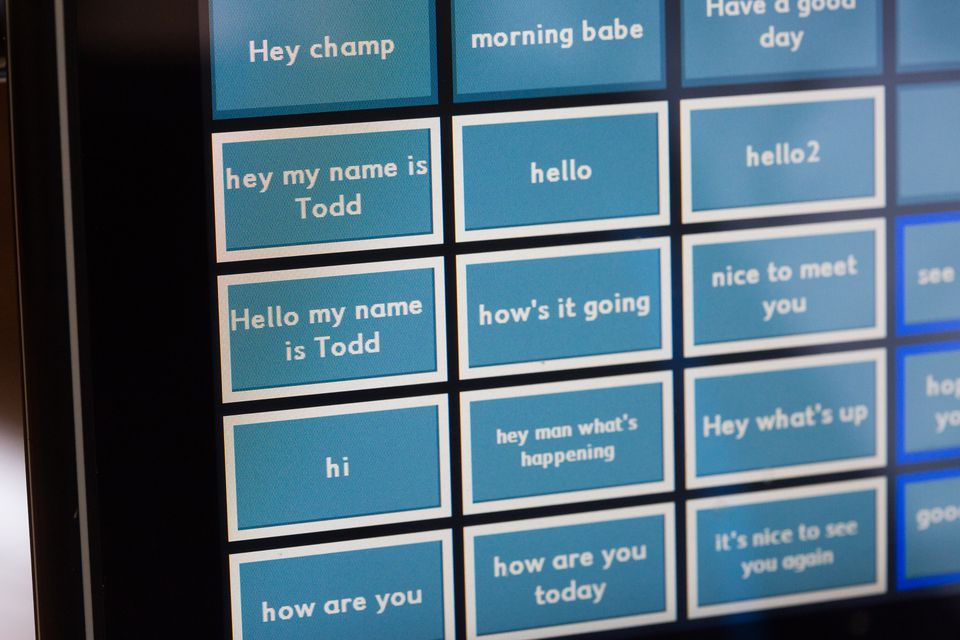 The program lets patients use eye movements to trigger phrases recorded in their own voices.