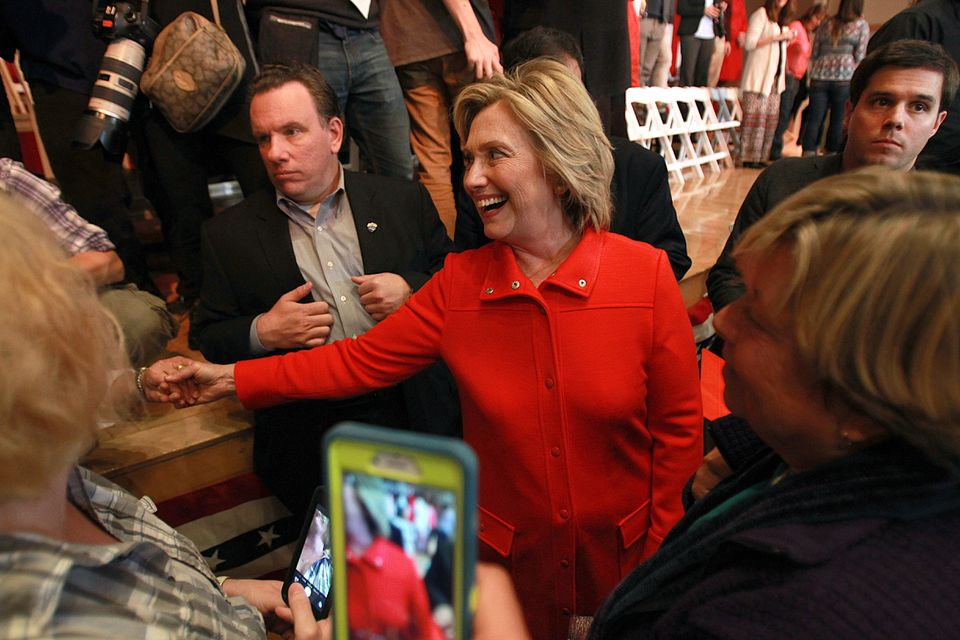 Hillary Clinton greeted supporters at a town meeting at Keene State College in New Hampshire.