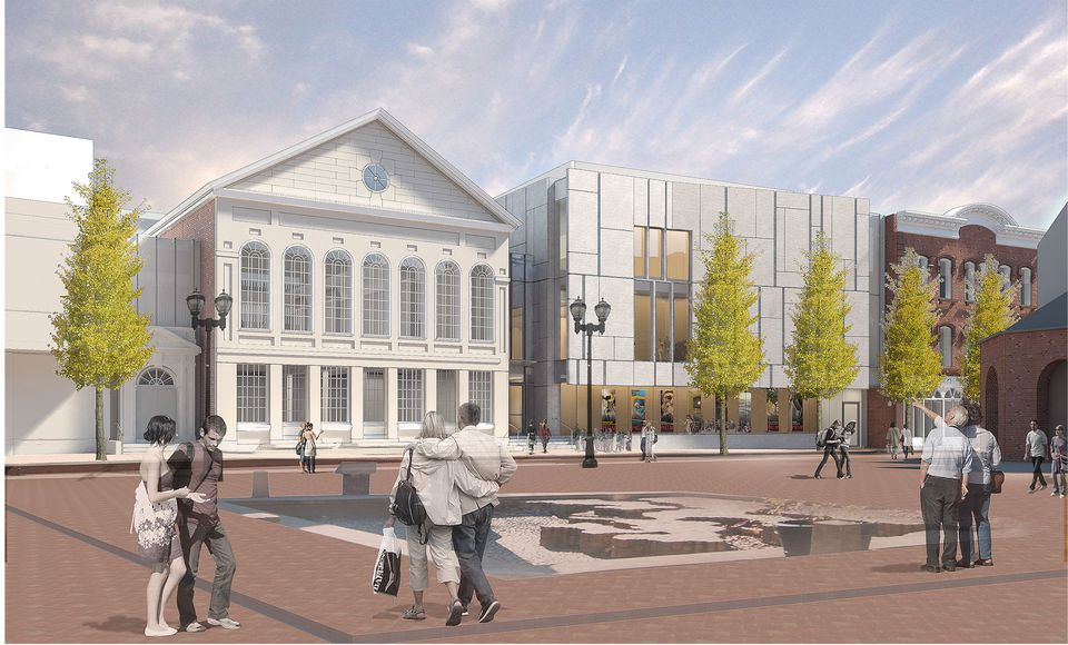 A rendering of the Peabody Essex Museum's expansion and renovation, looking west on Essex Street in Salem.