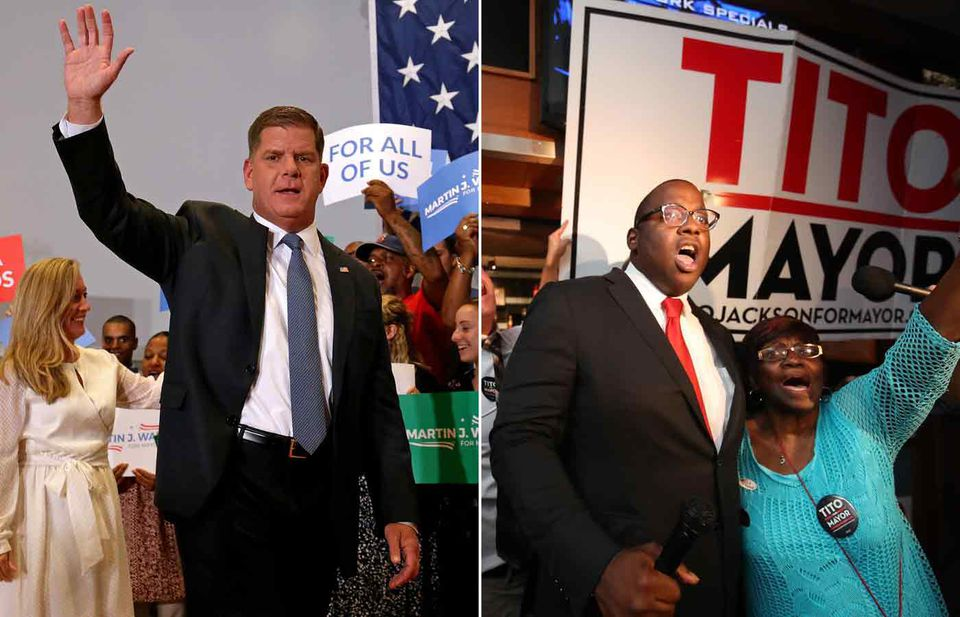 Mayor Martin Walsh and City Councilor Tito Jackson greeted supports on Tuesday.