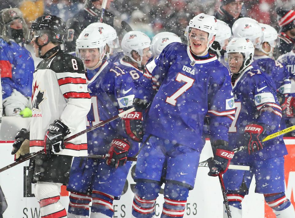 The US defeated Canada in a game at the World Junior Championship at New Era Field in Buffalo on Friday.