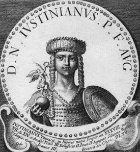 Justinian (depicted circa 560 AD) established the Byzantine silk industry.