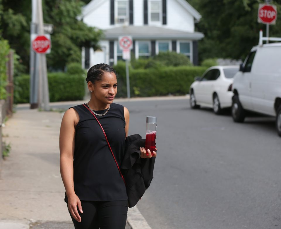"""""""I don't want my son to think that working as a sales associate and making $8.50 an hour is OK,"""" said Wileidy Ortiz, who works as a retail employee at the Prudential Center."""