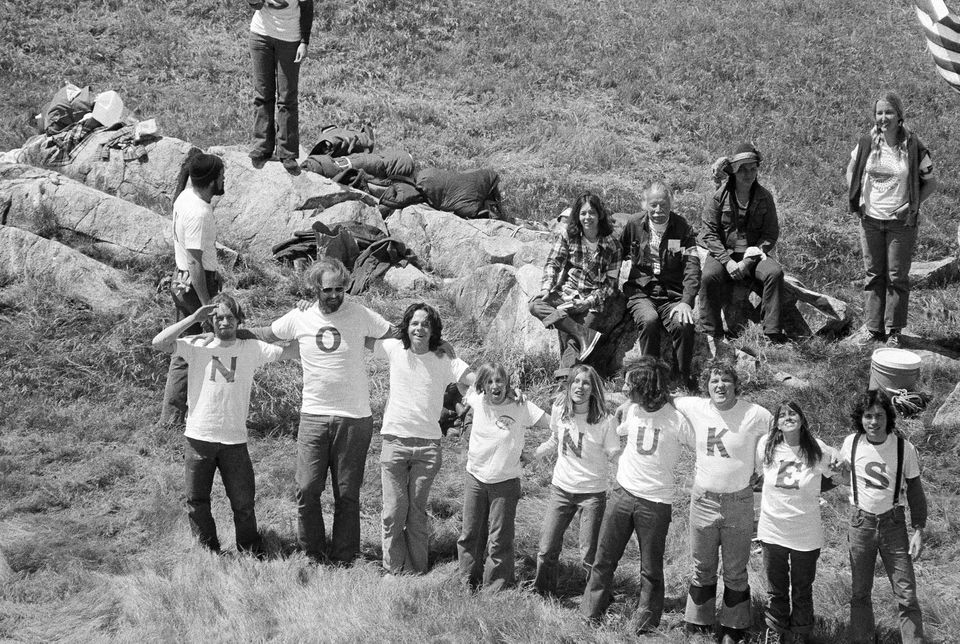 A small group of anti-nuclear powers demonstrators gathered in Seabrook, N.H., on April 30, 1977.