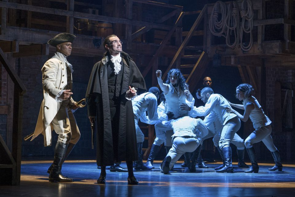 """Christopher Jackson (left) as George Washington and Javier Munoz in the title role of the Broadway musical """"Hamilton"""" at the Richard Rodgers Theater in New York."""