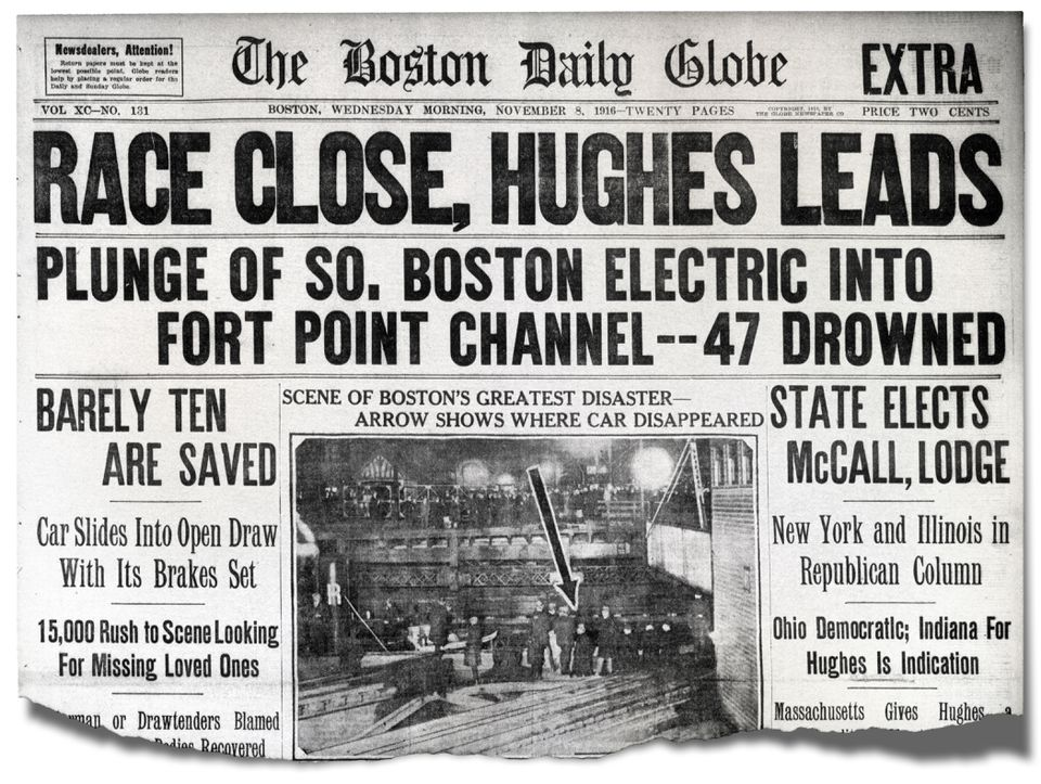 The disaster shared Page 1 space with the election results in the Globe. The death toll was later revised to 46.