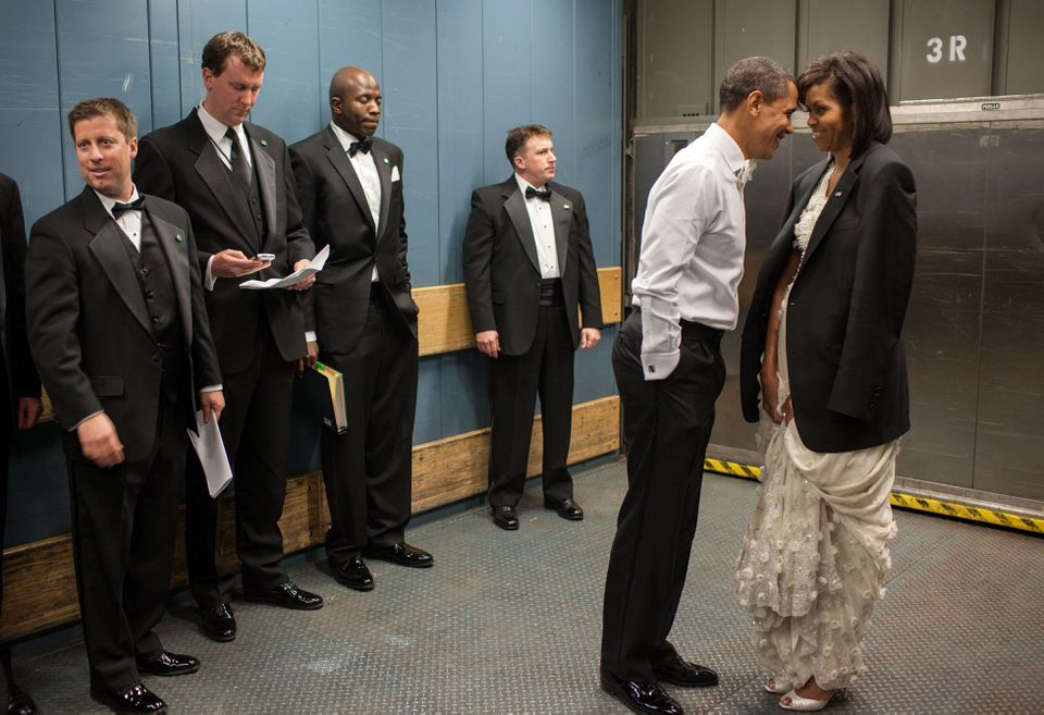 President Obama and Michelle Obama shared a private moment as they rode a freight elevator on their way to the Biden Home State Inaugural Ball in January 2009.